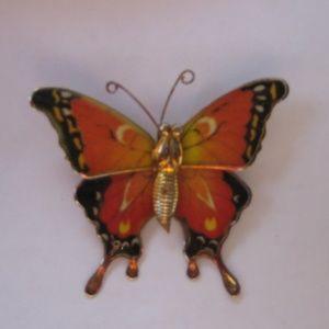 Jewelry - Vintage Orange & Black Butterfly Brooch Pin